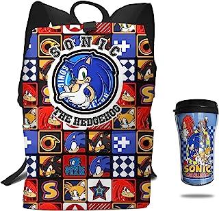2 件 Speeding Hedgehog Team 背包隔热儿童水瓶套装旅行圣诞礼物 声波 均码