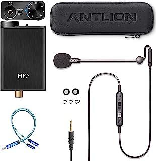 Antlion Audio ModMic Uni 带静音开关捆绑带 FiiO E10K 黑色 USB DAC 和耳机放大器和 Blucoil Y 分配器,用于音频,麦克风