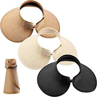 3 件套女式可折叠草编遮阳帽宽帽檐卷边沙滩帽,带蝴蝶结