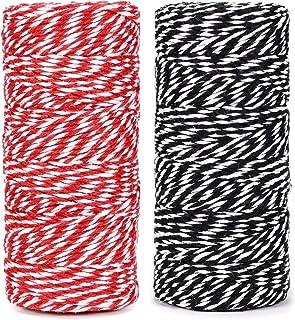 棉质烘焙绳索线 328 英尺 100 米,适用于烘焙、工艺品和圣诞节假日礼品包装线(红色/黑色)