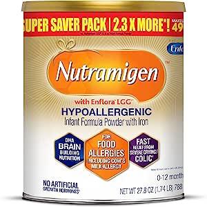 MeadJohnson 美赞臣 Enfamil 安婴儿 Nutramigen 婴儿无乳糖奶粉,低变应性,防止腹部不舒服,27.8盎司,1.74升-含有Omega 3 DHA,LGG益生元,铁,支持机体系统