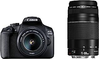 佳能 EOS 2000D 单反相机镜头2728C017 EF-S 18-55 IS II + 75-300 DC Kit 黑色