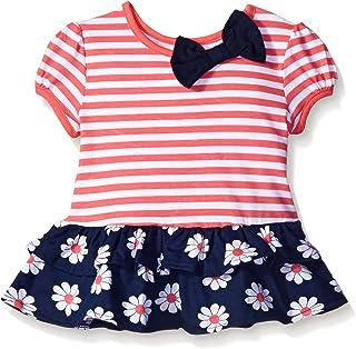 Gerber 嘉宝 Graduates 婴儿女童短袖低腰上衣 下摆双褶皱 Coral Stripe 12 Months
