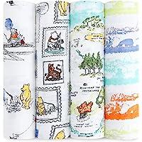 Aden+Anais 100%细平纹棉布包裹小熊维尼,120 x 120cm,4件