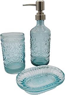 玻璃波西米亚浴室配件套装 - 3 件套复古浴室套装,带乳液皂液器、杯子和肥皂碟(蓝色)
