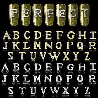 DANNEASY 104 件美甲饰品 3D 字母适用于*金色和银色美甲艺术魅力美甲水钻豪华*钉字母*珠宝装饰套装