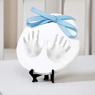 Nuby 婴儿纪念品装饰手足迹粘土铸造套件带画架加蓝色和粉色丝带,适合新生儿女孩和男孩,迎婴派对礼物