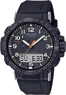 Casio 卡西欧 男式 Pro Trek 不锈钢石英手表硅胶表带,黑色,22(型号:PRW-50Y-1ACR)