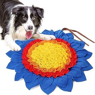 狗狗鼻罩垫 – 宠物鼻罩垫,适合中型犬和大型犬的狗狗鼻罩垫、狗狗喂食垫、狗狗拼图玩具鼓励自然觅食技能(向日葵)