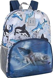 Picture Changing Lenticular Dinosaur 男孩背包 - 小学生和中学生全息图背包 鲨鱼 Large
