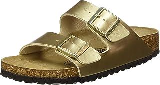 BIRKENSTOCK 勃肯 女士 Arizona Birko-Flor 金色凉鞋