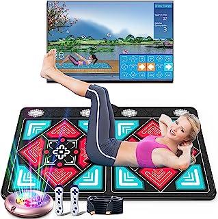 多功能瑜伽垫 5 英尺 x 3 英尺 x 15 毫米,适合儿童和成人的锻炼健身垫,舞蹈/跑步/游戏,音乐电子舞蹈地毯,双用户舞蹈地板垫带无线手柄,高清相机游戏主机,可折叠防滑毛绒织物舞蹈垫,电视 PC 的 HDMI 接口