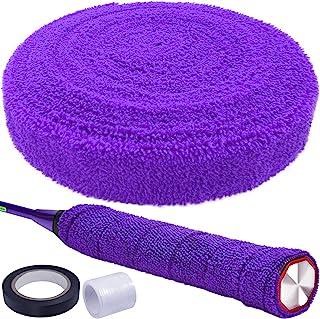 16.4 英尺 5M 紫色棉毛巾抓地力*吸水毛巾网球拍防滑吸汗带胶带球拍抓地力专业球拍带网球拍抓地力缠绕适用于网球羽毛球自行车手柄