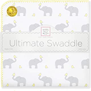 SwaddleDesigns Ultimate Swaddle Blanket, Made in USA Premium Cotton Flannel, Elephant and Pastel Yellow Chickies