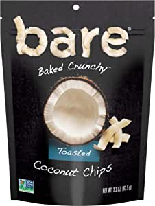 Bare Natural Coconut Chips, Toasted, Gluten Free + Baked, Multi Serve Bag - 3.3 Oz (6 Count)