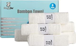 PandaEar (6 件装)超柔软吸水竹纤维毛巾,新生儿沐浴面巾,低*性自然,适合敏感肌肤
