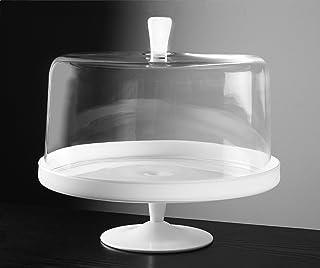 Barski - Euorpean 优质玻璃 - 大号 2 件套连脚玻璃 - 猫眼石(白色)蛋糕架带大号透明蛋糕圆顶 - 带蛋白石(白色)旋钮 - 直径 31.75 厘米 - 欧洲制造