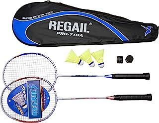 Regail 羽毛球拍套装适用于 2 个玩家,带羽毛球和手柄,适合初学者和专业玩家。羽毛球套装适用于后院、户外、后院游戏