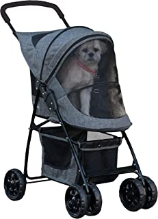 Pet Gear Happy Trails 宠物推车 适用于猫/狗,易折叠,带可拆卸衬垫,储物篮,经典灰色 (PG8030CG)