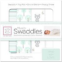 SwaddleDesigns棉平纹细布襁褓毯,4件套 海水晶