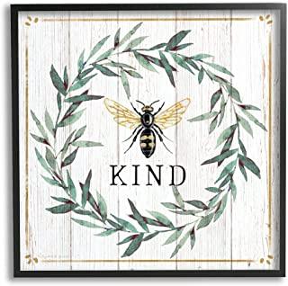 Stupell Industries Bee Kind Phrase Country Farm 昆虫宾关语,由 Elizabeth Tyndall 黑色带框墙画,24 x 24,米白色