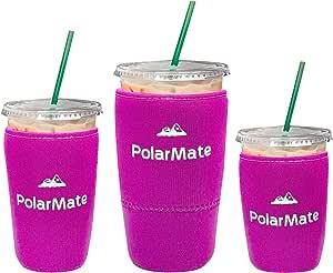 3 件装可重复使用的冰咖啡套 | 冷饮饮料保温杯套 | 氯丁橡胶杯架 | 非常适合星巴克、麦当劳、邓肯甜圈等(粉色)