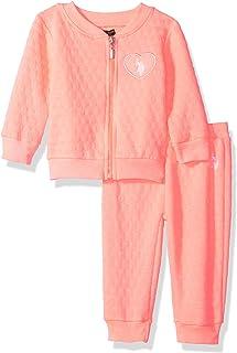 U.S. Polo Assn. 女婴 2 件套抓绒运动套装