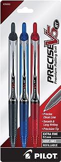PILOT Precise V5 RT 可填充和可伸缩液体墨水滚珠笔,超细笔尖(0.5 毫米)黑色/蓝色/红色墨水,3 支装(26053)
