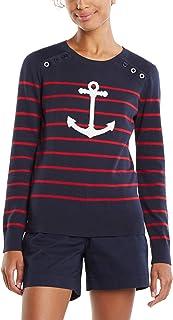 Nautica 女士 Voyage 长袖 * 纯棉条纹圆领毛衣