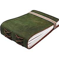 皮革日记本笔记本 - 女式男式复古皮革装订日记本 - 写作日记本 - 皮革笔记本 - 皮革素描本 220 棉质手工纸…