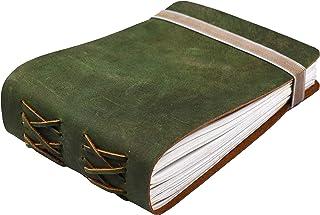 皮革日记本笔记本 - 女式男式复古皮革装订日记本 - 写作日记本 - 皮革笔记本 - 皮革素描本 220 棉质手工纸 - 17.7 X 12.7 厘米 Leather Village 出品