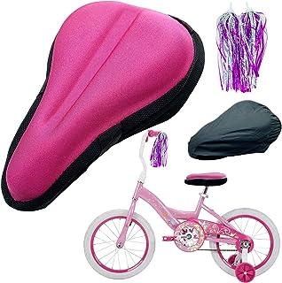 "TOMDLING 儿童凝胶自行车坐垫套,透气*泡沫儿童自行车座套,儿童自行车座垫,带防水防尘套,9""x6""(黑色)"