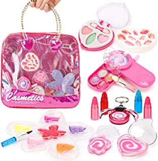 Liberty 进口 小女孩化妆品玩具套装 — 可洗* — 公主真化妆包带盒 — 儿童理想礼物 钱包 粉红色