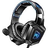 RUNMUS 游戏耳机 PS4 耳机,7.1 环绕声,Xbox One 耳机带降噪麦克风和 LED 灯,兼容 PS4、X…