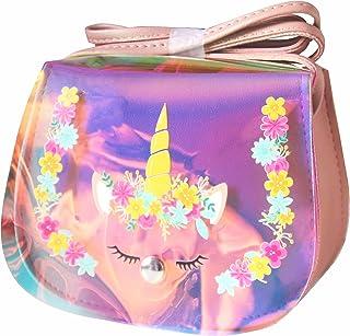 ComicalBubble 独角兽女孩钱包,儿童斜挎包,适合 4-8 岁,女孩钱包,可爱配饰 彩色(无眼镜) Small