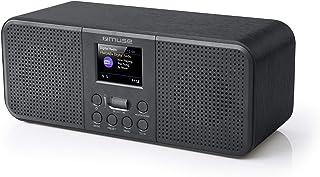 Muse M-122 DBT - DAB 收音机和收音机闹钟,带双重闹铃(FM,DAB,DAB,DAB,DAX,蓝牙,AUX 输入,耳机插孔),黑色