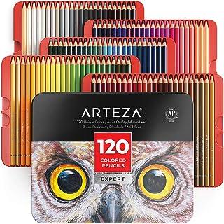 ARTEZA 彩色铅笔,120 种颜色专业套装,软蜡芯,非常适合绘画艺术,素描,遮光和着色,充满活力的艺术家铅笔,适合初学者和专业艺术家,锡盒