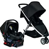 BRITAX B-Lively 旅行系统带 B-Safe 35 婴儿汽车座椅| 单手折叠,XL 储物,通风罩,易于操作…