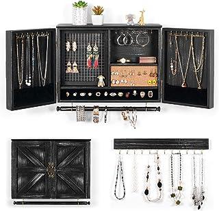 XCSOURCE 壁挂首饰收纳架 乡村风格| 壁挂式网眼首饰支架 | 用于项链、手链、耳环、戒指支架、配件 | 悬挂珠宝盒(黑色)