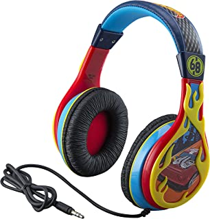 eKids Hot Wheels 耳机,可调节头带,立体声声音,3.5毫米插孔,儿童有线耳机,不打结,音量控制,儿童耳机,适合学校家庭,旅行