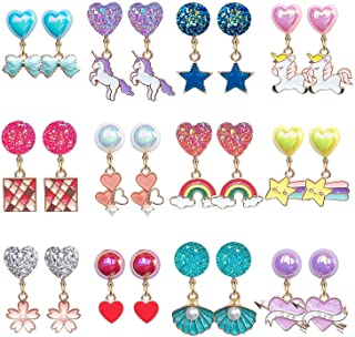 EleMirsa 12 对夹式耳环女孩派对礼品公主夹式耳环假扮游戏独角兽耳环适合小女孩儿童幼儿珠宝套装