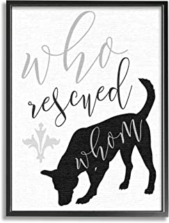 Stupell Industries Who Rescued Whom Dog 排版画,由 Daphne Polselli 黑色带框墙艺术,24 x 30,白色