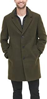 DKNY 男式羊毛混纺外套,带可拆卸夹棉围嘴