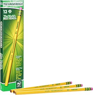 美国 TICONDEROGA 泰康德儒格 12支装西达木制2H带皮头石墨铅笔 六角形柠黄笔杆13884