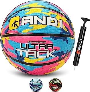AND1 Ultra Grip 高级优质橡胶篮球(充气)或(充气后带泵):官方规定尺寸 7 (29.5 英寸)街球,适用于室内和室外篮球游戏