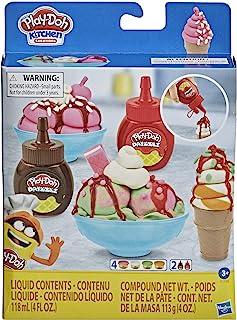 Play-Doh 厨房创意双层冰淇淋玩具套装,适合 3 岁及以上儿童,2 种颜色和 4 个经典锅,*