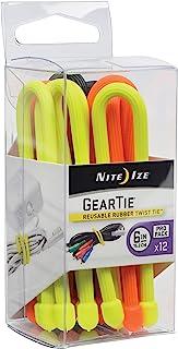 """Nite IZE Original Gear 领带,可重复使用的橡胶扭结带 各种颜色 - ProPack 6\"""" - 12-Pack GTPP6-A1-R8"""
