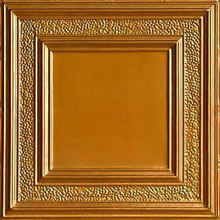 Shanko SKPC509-lnop-24x24-D-12 县软木印花金属铺设天花板瓷砖(48 平方英尺),林肯铜
