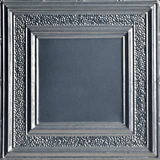Shanko SK509-laq-24X24-N-12 县软木印花金属钉钉锡天花板瓷砖(48 平方英尺),银色