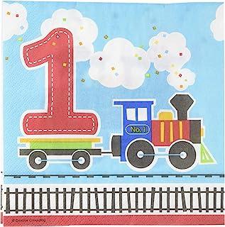 Creative Converting 16 All Aboard Blue Boy's Happy 1st Birthday 派对一次性午餐餐巾,多色